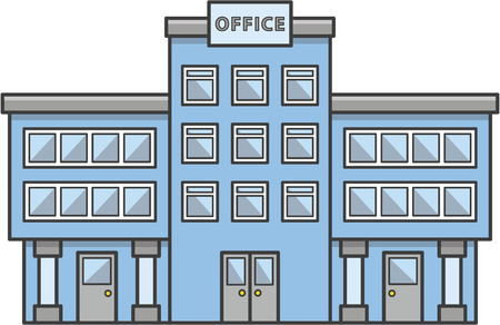 Office building Doodle Illustration cartoon Vectores