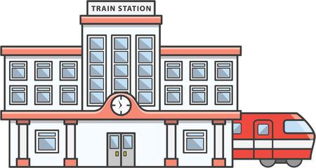 tren caricatura: estación de tren de dibujos animados de la ilustración de Doodle