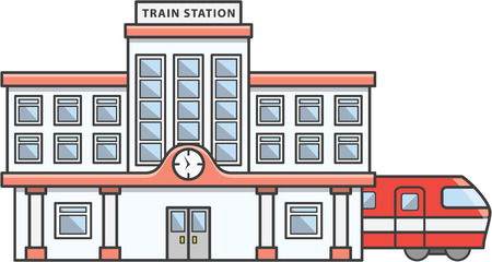 Train station Doodle Illustration cartoon Vettoriali