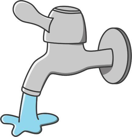 cartoon kitchen: ilustración de dibujos animados vector de agua del grifo