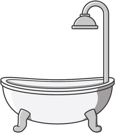 bañarse: Bañera ilustración de dibujos animados de vectores Vectores