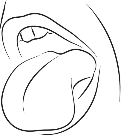 woman open mouth: Tongue black and white simple line illustration
