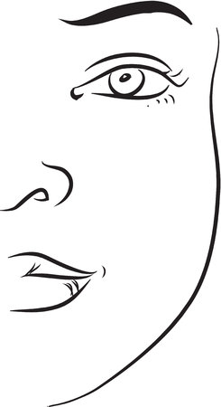 attractive woman: Cheek black and white simple line illustration
