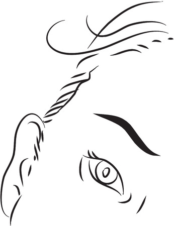 eyelids: Eyelids black and white simple line illustration