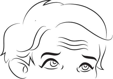 eighty's: Forehead black and white simple line illustration