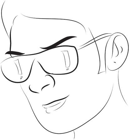 wearing: wearing glasses Illustration