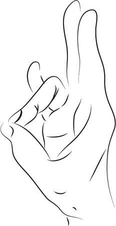 human finger: ring finger black and white simple line illustration