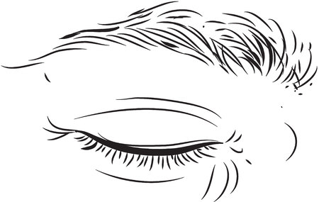 eyelid black and white simple line illustration Illustration