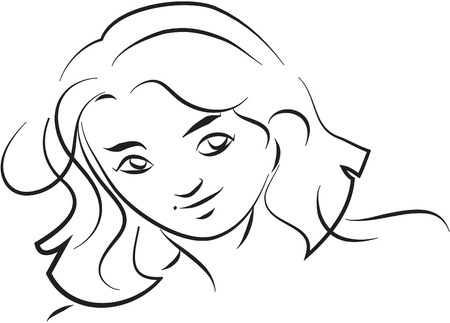 black woman: Woman face sketch black and white simple line illustration