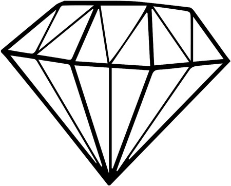 jewels: Diamond black and white simple line illustration Illustration