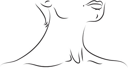 neck injury: Neck black and white simple line illustration