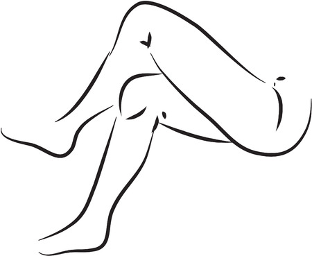 thigh: Thigh black and white simple line illustration