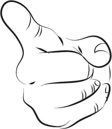 autoridad: Señalar el dedo blanco y negro Ilustración de línea simple Vectores