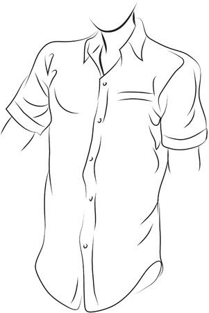 apparel part: Shirt black and white simple line illustration Illustration