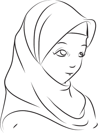 girl face: hijab ilustration