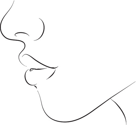 hand on chin: Chin black and white simple line illustration