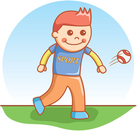 catch: boy throwing ball doodle cartoon Illustration