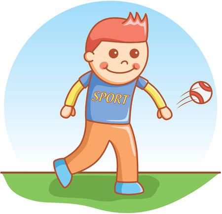 coger: chico de pelota de dibujos animados del doodle