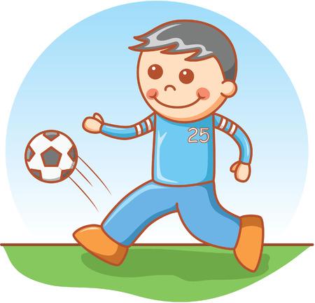 balones deportivos: muchacho que juega al fútbol Vectores