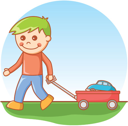 kindergartner: Boy pulling car doodle