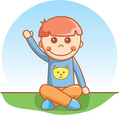 niños sentados: Niño sentado del doodle