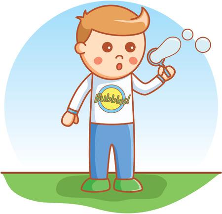 blowing: Boy blowing doodle