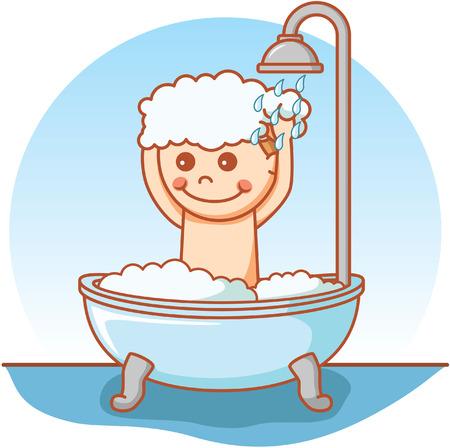 shower bath: Boy take a bath doodle