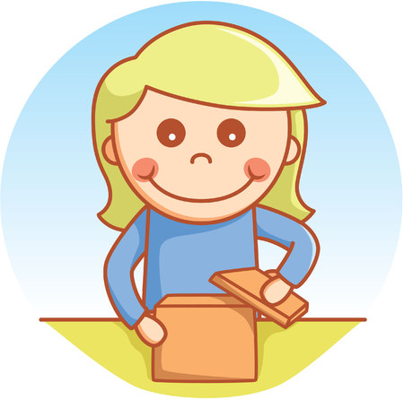 day dreaming: Girl opening box