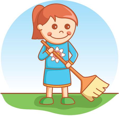 sweeping: Girl sweeping doodle