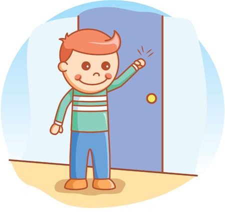 tocar la puerta: Boy doodle de golpear