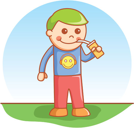 man drinking water: Boy drinking Illustration