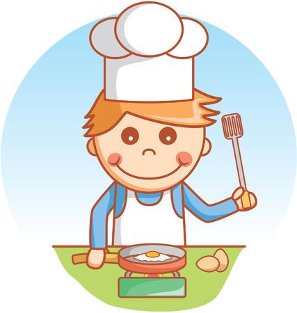 kid vector: Boy doodle de cocinar Vectores