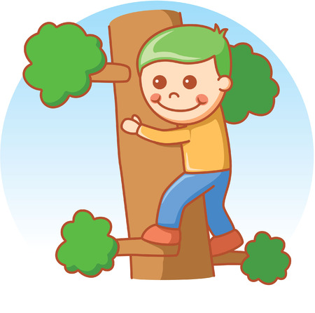 climbing wall: Boy climbing Illustration