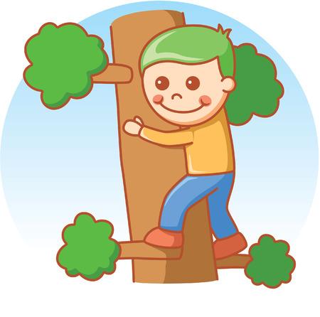 sport cartoon: Boy climbing Illustration