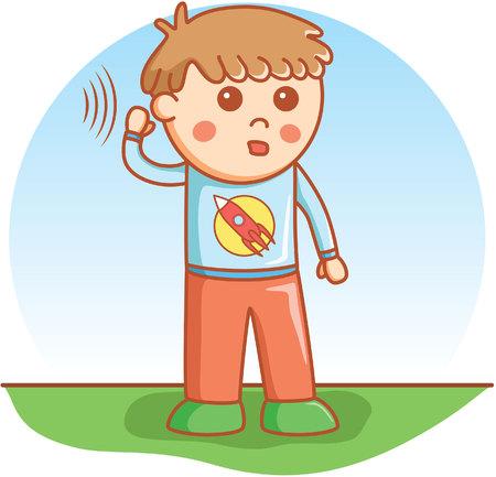 boy hearing doodle cartoon vector
