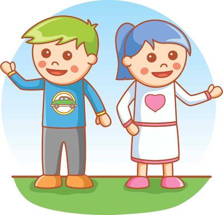 teenage couple: Boy and Girl greeting pose
