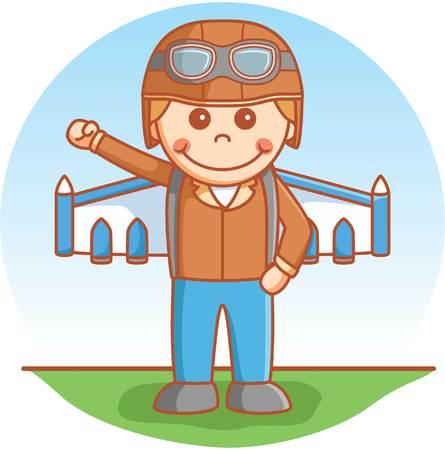 jetpack: Adventure boy using jetpack Illustration