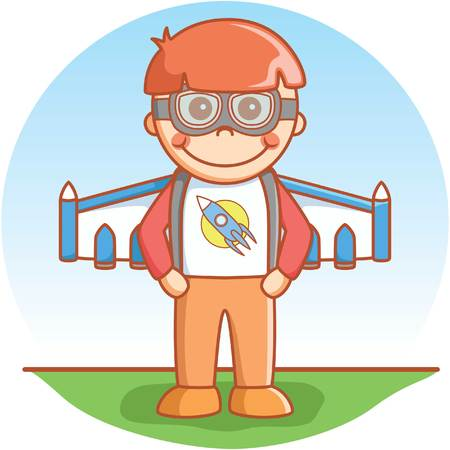 jetpack: Boy with jetpack Illustration