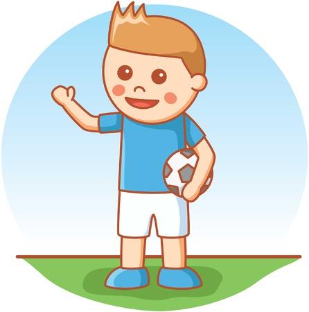 jugando futbol: muchacho que juega al fútbol Vectores