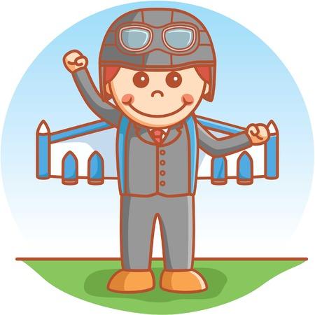 jetpack: Business boy using jetpack
