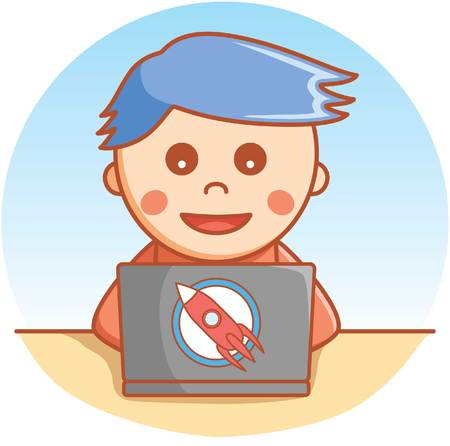 learning computer: Boy playing laptop Illustration