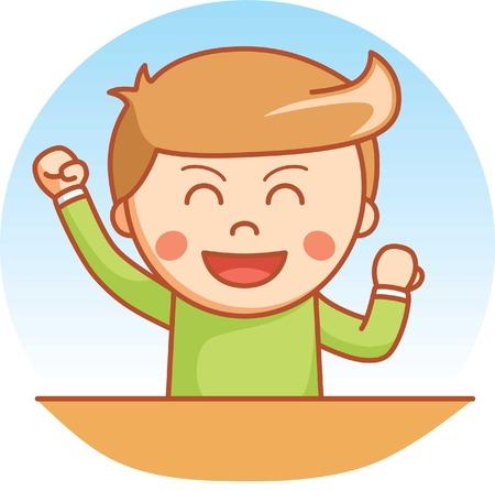 kid portrait: Happy boy  cartoon illustration