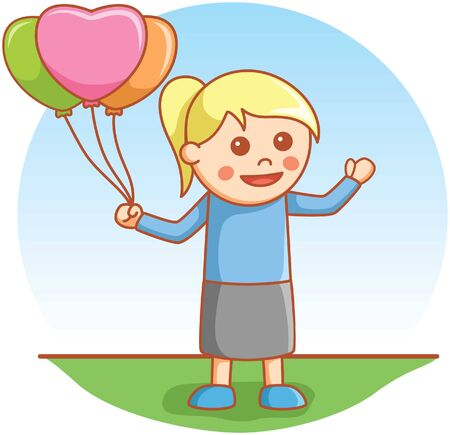 little child: girl playing with balloon