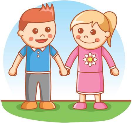 girl pose: Boy and Girl greeting pose