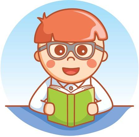 hispanic boy: Book worm boy Illustration