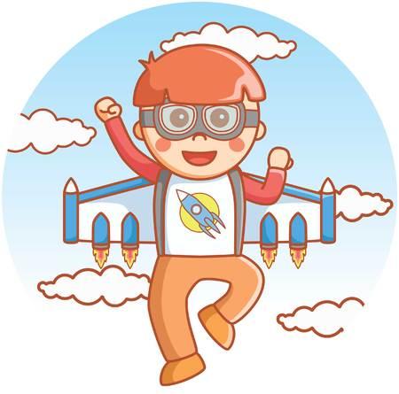 jetpack: Boy posing with jetpack