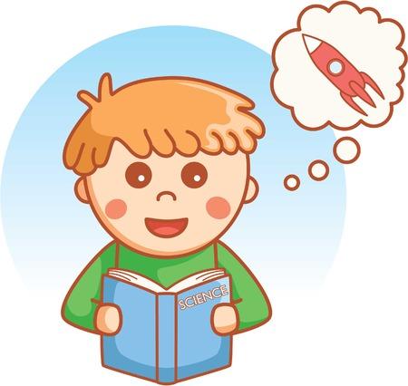wondering: Boy reading and wondering