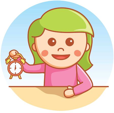 one child: Girl showing clock