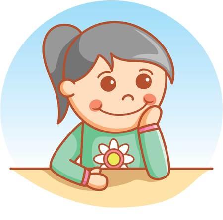 cute girl: Wondering cute girl Illustration