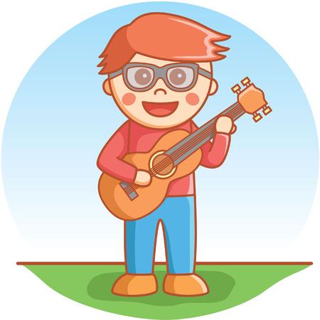 playing guitar: Guitarsit boy playing brown guitar